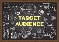 Hand drawn icons about Target audience on chalkboard. Hand drawn icons about  Target audience on chalkboard Stock Images