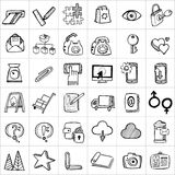 Hand drawn icons 005. There are simple hand drawn icons related to communication, business and media vector illustration
