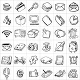 Hand drawn icons 003. There are simple hand drawn icons related to communication, business and media royalty free illustration