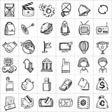 Hand drawn icons 004. There are simple hand drawn icons related to communication, business and media stock illustration