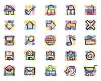 Hand-drawn Icons (Vector). 25 different vector web and computer related icons. Colors are global swatches which makes changing colors very easy Royalty Free Stock Photography