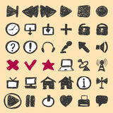 Hand drawn icons. Vector illustration Royalty Free Stock Images