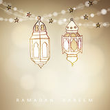 Hand drawn illuminated Arabic lamps, lanterns with bokeh lights and stars. Vector illustration for Muslim community holy month Ram. Adan Kareem. Modern blurred Stock Images