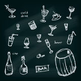 Hand drawn illustrated drinks set. EPS10 Vector Stock Image