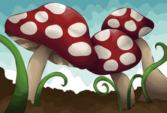 Hand drawn illustrated group of mushrooms. Each mushroom, grass, dirt and sky are all on separate layers stock illustration