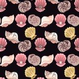 hand-drawn illustraties Beeld met zeeschelpen op de diepte van het overzees Naadloos patroon stock illustratie