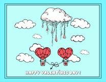 hand-drawn illustraties De kaart van de groet voor de Dag van de Valentijnskaart Feest van St Valentine Naadloos patroon Stock Foto