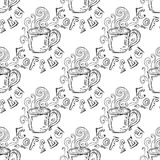 hand-drawn illustraties Een kop van koffie Naadloos patroon Stock Afbeeldingen