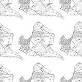 hand-drawn illustraties Krokodil het drinken thee Naadloos patroon Stock Foto's