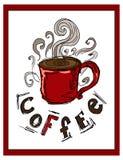 hand-drawn illustraties Prentbriefkaar een kop van koffie Royalty-vrije Stock Afbeelding