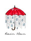 hand-drawn illustraties Regen onder een rode paraplu De Mens van de prentbriefkaarregen royalty-vrije illustratie