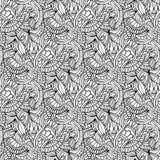 hand-drawn illustraties Zwart-witte abstractie Naadloos patroon Stock Fotografie