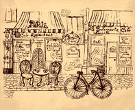 Hand drawn illustration. With Paris bistro Royalty Free Stock Photography