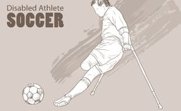 Hand drawn illustration. Amputee Football player. Vector sketch sport. Graphic silhouette of disabled athlete on Stock Photos