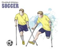 Hand drawn illustration. Amputee Football players. Vector sketch sport. Graphic figure of disabled athletes on crutches. With a ball. Active people. Recreation Royalty Free Stock Images