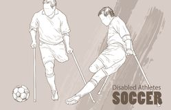 Hand drawn illustration. Amputee Football players. Vector sketch sport. Graphic silhouette of disabled athletes on. Crutches with a ball. Active people Royalty Free Stock Photography