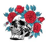 Human skull with a roses wreath. Hand drawn illustration of anatomy human skull with a lower jaw and roses wreath Royalty Free Stock Photos