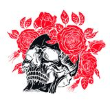 Human skull with a roses wreath Royalty Free Stock Photos