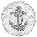 Hand drawn illustration of an anchor and rope. Stock Photo