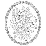 Hand drawn illustration. Anti stress coloring page. Decorative background with zen tangle style for coloring Royalty Free Stock Photo