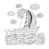 Hand drawn illustration. Anti stress coloring page. Stock Photography