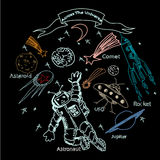 Hand drawn  illustration. Astronaut and space objects. Royalty Free Stock Image