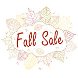 Hand drawn  illustration. Background with Fall leaves. Forest design elements. Fall sale. Stock Images