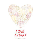 Hand drawn  illustration. Background heart of autumn leaves.  I love autumn. Stock Photography