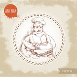 Hand drawn illustration of baker with baker basket of fresh bread. Sketch style vector vintage illustration. Man in uniform and daily bread goods vector illustration