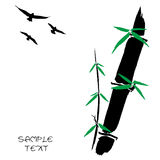 Hand drawn illustration of a bamboo and bird. Silhouette against a white background Stock Photos
