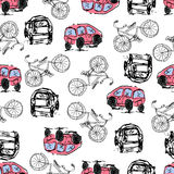 Hand Drawn Illustration. Bicycles, cars. Paris theme. Royalty Free Stock Images