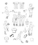 Hand drawn  illustration with black and white soccer players, isolated on white background. Football stuff, happy winning te Stock Photography