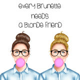 Hand drawn illustration of a blonde and a brunette girl with eye glasses. A blonde and a brunette girl with eye glasses Royalty Free Stock Image