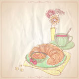 Hand drawn illustration of a breakfast with croissant. stock illustration