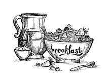 Hand drawn illustration - Breakfast with milk, fruit and oatmeal Royalty Free Stock Photography