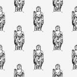 Hand drawn  illustration of Buddha. Seamless background pattern Stock Photography
