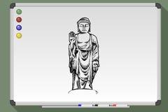 Hand drawn  illustration of Buddha. On whiteboard Royalty Free Stock Image