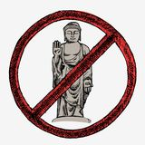 Hand drawn  illustration of Buddha. In red sign Royalty Free Stock Photos