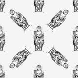 Hand drawn  illustration of Buddha. Seamless background pattern Royalty Free Stock Photography