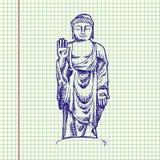 Hand drawn  illustration of Buddha. Sheet ball pen drawing Stock Photography