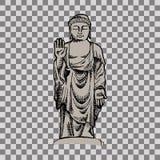 Hand drawn  illustration of Buddha. Transparent background Stock Photography