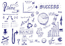 Hand drawn illustration: Business success stock photo