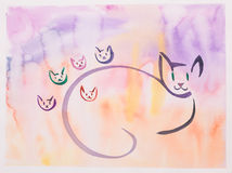 Hand drawn illustration of cat family. Hand drawn illustration of stylized happy mother cat with five kittens Stock Images