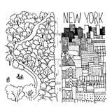 Hand drawn illustration of Central Park in NY Royalty Free Stock Image