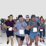 Hand drawn illustration of cheerful crowd running marathon with blank signs Stock Photos