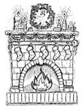 Hand drawn illustration of Christmas fire place Royalty Free Stock Images
