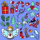 Hand-drawn Christmas elements: presents, omela, angel, holly berry, sweets, christmas balls. Hand-drawn illustration of a Christmas objects: presents, omela vector illustration