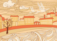 Ochre colored city wallpaper. Hand drawn illustration of cityscape, naive style Stock Photography