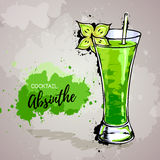 Hand drawn illustration of cocktail absinthe. Royalty Free Stock Photos
