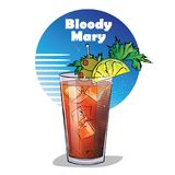 Hand drawn illustration of cocktail. Bloody Mary. Royalty Free Stock Photo